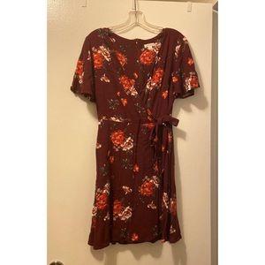 xhiliration floral wrap dress